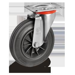 Roulette pivotante, diamètre 80 fixation à platine ,caoutchouc noir, charge 80 Kg