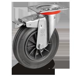 Roulette pivotante à frein, diamètre 100 fixation à platine ,caoutchouc noir, charge 70 Kg
