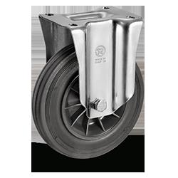 Roulette fixe, diamètre 200 fixation à platine ,caoutchouc noir, charge 205 Kg
