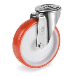 Roulette polyuréthane rouge pivotante diamètre 100 mm à oeil - 200 Kg