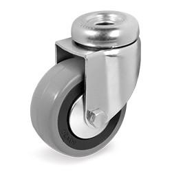 Roulette à oeil 10 mm caoutchouc gris pivotante diamètre 75 mm - 60 Kg