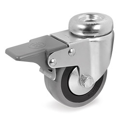 Roulette à oeil 10 mm caoutchouc gris pivotante à frein diamètre 50 mm - 40 Kg