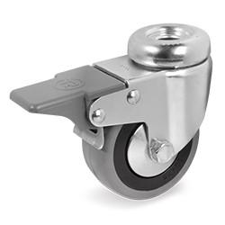 Roulette à oeil 10 mm caoutchouc gris pivotante à frein diamètre 75 mm - 60 Kg